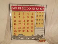 FÉM - tábla - NAPTÁR - Olasz - NAGY - retro - bájos 30 x 30 cm - hibátlan