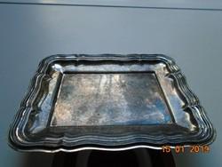 Patinás ezüstözött barokk kis tálca QUIST-17x13,3 cm
