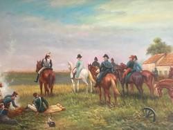 Lovaskatonákat ábrázoló festmény ( 19.sz.-i tábori élekép)