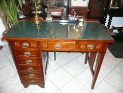 Hibátlan antik szecessziós pici női íróasztal levehető eredeti tükörrel + íróasztal székkel