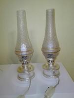 Retro Petroleumlámpa alakú bütykös üvegű asztali lámpa pár