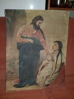 Gyógyító Jézus, olaj, vászon, 63x48, poros, szignós