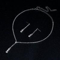 Ezüstözött kristály köves nyaklánc - fülbevaló szett EBSZ-K04