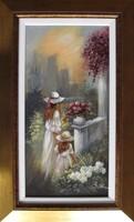 """Varga Szidónia """"Virágoskertben"""" c. gyönyörű csendélet igényes keretben ingyen postával!"""
