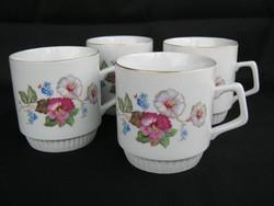 Zsolnay porcelán virágos bögre 4 db