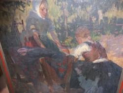 Kalivoda Kata anya gyerekekkel 87,5x92cm, olajvászon