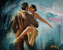 """Adilov Alim """"Szenvedélyes tánc"""" c. olajfestmény szép keretben ingyenes házhoz szállítással"""