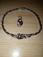 Antik női ezüst karkötő+ medál 925-ös