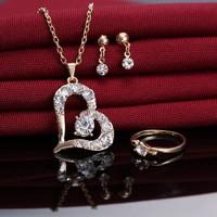 Gold Filled fülbevaló-nyaklánc-gyűrű szett GFSZ88