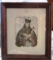 Antik szenkép apácamunka Nepomuki  Szent János XIX. sz vége XX.sz eleje, részben himzett/gobelin/