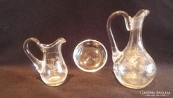 Antik csiszolt kis üveg kiöntők