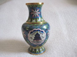 Rekeszzománc rekesz zománc tűz zománc Cloissoné antik réz váza