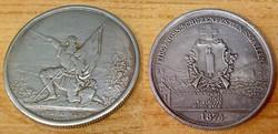 Svájci  5 talléros 1874, ezüstözött kópia.