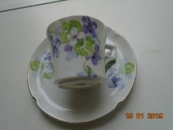 Birodalmi Imperial PSL (Pfeiffer&Lowenstein) ibolyás kávés csésze alátéttel az Alma sorozatból