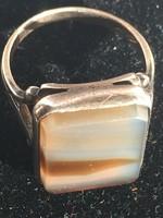 Gyűrű-ezüst,orosz fémjellel,achát kővel