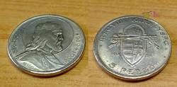 Szent István 5 pengős, ezüstözött kópia.