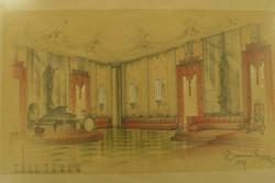 Belső építészeti terv (táncterem) 1937, szignózott