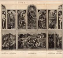 Genti oltár, egyszín nyomat 1893, német nyelvű, Brockhaus, van Eyck, vallás templom, kersztény