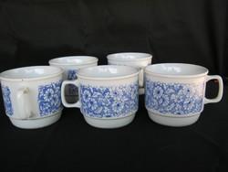 Zsolnay porcelán kék virágos bögre 5 db