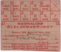 SASHALOMI ÉLELMISZERJEGY - 1946 ÁPRILIS 1