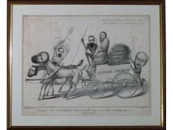 3204 Antik karikatúra metszet 1820-50-es évekből
