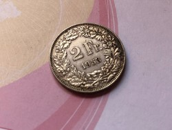 1953 svájci ezüst 2 frank 10 gramm 0,835 Ritka