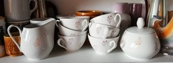 Kakaóbab mintás késői art deco német porcelán kávés készlet
