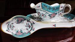 Herendi Tupini Corne d' Abondance porcelán mártásos tál, kanállal