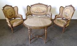 0U608 Antik gobelines barokk ülőgarnitúra 4 darab