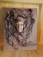 Falikép, paverpol textilszobrászat technikával készített.