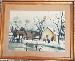 Szalóky Sándor- Téli kértek akvarell