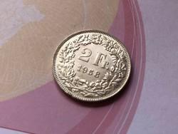 1958 svájci ezüst 2 frank 10 gramm 0,835 Ritkább
