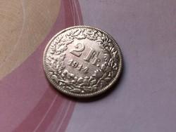 1914 svájci ezüst 2 frank 10 gramm 0,835 Ritkább