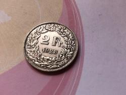 1928 svájci ezüst 2 frank 10 gramm 0,835 Ritkább
