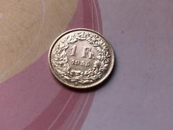 1955 svájci ezüst 1 frank 5 gramm 0,835 Ritka