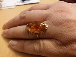 14K arany borostyánköves gyűrű