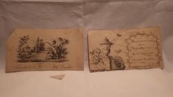 1821-ből gyönyörű kis tusrajz aláírt