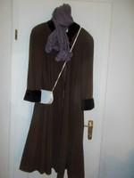 Szépséges nagyon finom KVbarna gyapjú kasmír  kabát  molett 40 42 44 120 cm hosszú alul 3 m széles