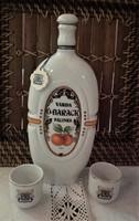 Hollóházi porcelán pálinkás butella,kulacs,kiöntő,italos készlet Várdai Ó-barack palack +2 db kupica