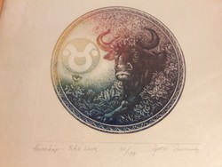 Egresi Zsuzsa - Horoszkóp - Bika hava színes rézkarc - képcsarnokos