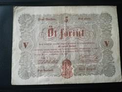 1848-as 5 Forint BARNA (DEBRECENI NYOMAT ) R!