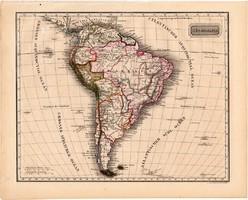 Dél - Amerika térkép 1840, német nyelvű, atlasz, eredeti, Pesth, 23 x 29 cm, Brazília, Patagónia