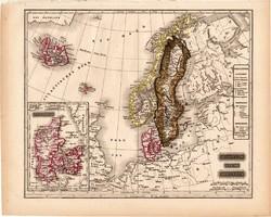 Svédország, Norvégia, Dánia térkép 1840, német nyelvű, atlasz, eredeti, 23 x 29 cm, Skandinávia