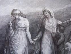 Antik metszet. Thomas Stothand festménye nyomán metszette A. Suntach. Kézzel számozva, keretezve