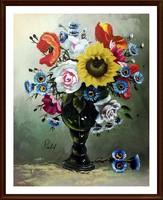 Gyönyörű Art deco, jelzett virágcsendélet