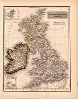 Anglia, Skócia, Írország térkép 1840 (2), német nyelvű, atlasz, eredeti, Pesth, 23x29 cm, Britannia