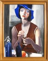 Nóth Inga : Kék kalapos nő Aba Novák festménye után