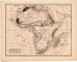 Afrika térkép 1840, német nyelvű, atlasz, eredeti, Pesth, 23 x 29 cm, régi, acélmetszet