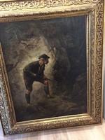 Eladó antik ,vadász jelenetes festmény !