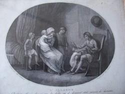 Antik metszet Thomas Stothand festménye nyomán. Metszette A. Suntach. Kézzel számozva, keretezve